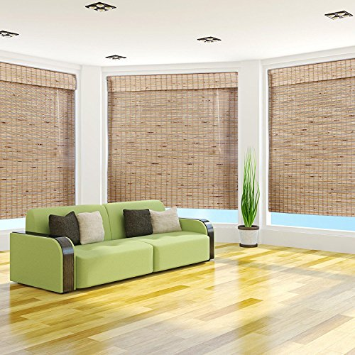 Arlo Blinds, Mandalin Light Filtering Bamboo Roman Shade with Valance - Size: 34