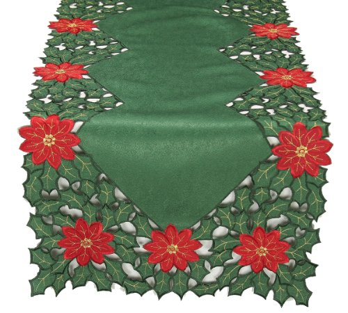 Xia Home Fashions Holly Leaf Poinsettia Embroidered Cutwork Christmas Table Runner, 15-Inch by 54-Inch