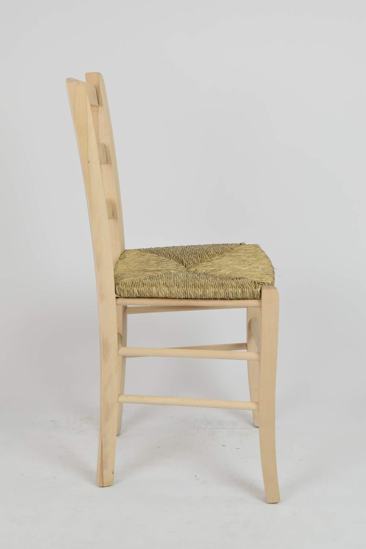 Tommychairs sillas de Design solida Estructura en Madera de Haya lijada 100/% Natural y Asiento en Paja Set 2 sillas cl/ásicas Venice para Cocina no tratada Comedor Bar y Restaurante