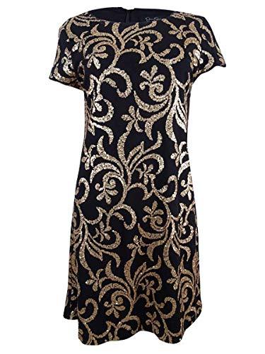 Jessica Simpson Women's Scroll Embellished Sequin Dress, Black/Gold, 6