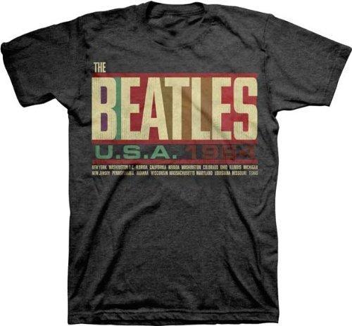 (The Beatles Men's USA 1964 Tour T-Shirt Black S)