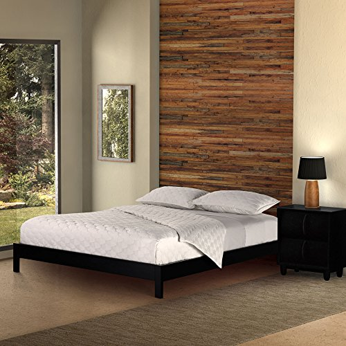 Murray Platform Bed with Wooden Box Frame, Black Finish, King