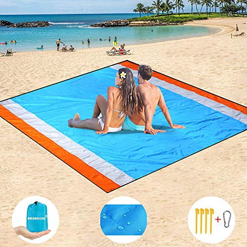 """BMHNOONE Sand Free Beach Blanket, Oversize Sand Free Beach mat 82""""x79"""",Portable Outdoor Beach Blanket for Beaches,Camping,Hiking and Picnic- Lightweight Quick Drying Heat Resistant"""