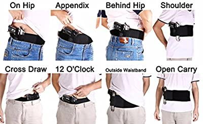 Universal Belly Band Holster for Concealed Carry Elastic Neorprene Hand Gun Holder for Pistol Revolver Unisex Men and Women