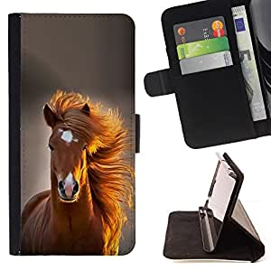 For Sony Xperia M5 Mane Horse Golden Brown Summer Style PU Leather Case Wallet Flip Stand Flap Closure Cover