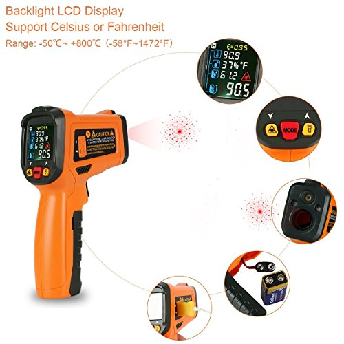 Infrared Thermometer, Non Contact Laser Thermometer Gun for Oven Kitchen Cooking BBQ Automotive Industrial, -58℉ ~ 1022℉ with LCD Display by Dinlly (Image #4)
