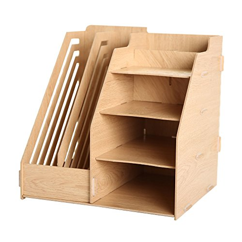 Openwork Basket (Multifunction Wooden Files Rack Detachable File Box Openwork File Shelf Desktop Office Storage Baskets Organize The Box)
