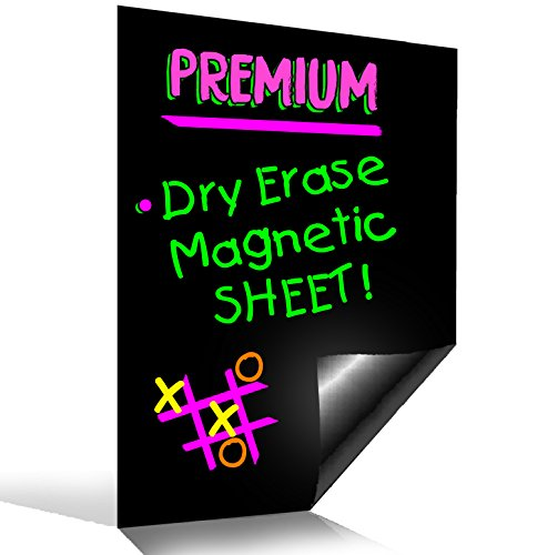 BigTime Magnetic Refrigerator Dry Erase Flexible Magnet Board | Use w/ Fluorescent or Neon Liquid Chalk Markers | Blank Small Solid Black