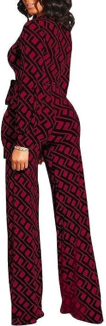 GAGA Womens Long Sleeve V-Neck Wide Leg Pants High Waist Jumpsuit