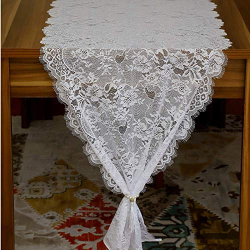 Feminen White Table Runner Elegant Chic Wedding Lace Runners Great for Spring Summer and Wedding Decor 20''x120'' (2 Pieces) ()