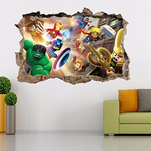 Lego Marvel Dc Smashed Wall 3d Decal Removable Graphic