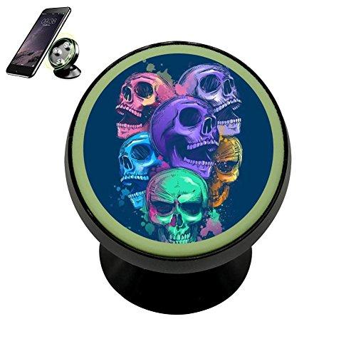 Graffiti inkjet Skull Magnetic Phone Car Mount Holder, 360 Rotation Universal Magnetic Luminous Mobile Phone (Jet Twist Lock)