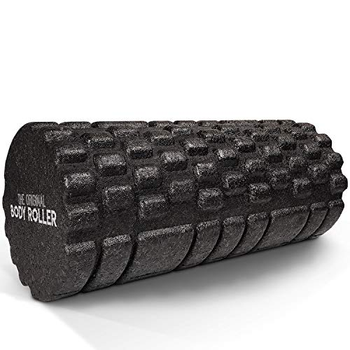 The Original Body Roller - High Density Foam Roller Massager for Deep Tissue Massage of The Back and Leg Muscles - Self Myofascial Release of Painful Trigger Point Muscle Adhesions - 13' Black