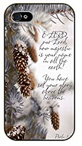 iPhone 5 / 5s O Lord, our Lord, how majestic is your name in all the Earth. Psalm 8:1 - black plastic case / Inspirational and motivational Bible verse, biblical, verses