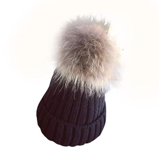 f96b14f49cd Winter Beanie Hats for Women Adults Soft Knitted Scorpion Hair Ball Fur Bobble  Pom Pom Hat