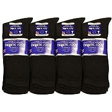 12 Pairs Diabetic Socks Men Unisex Crew 10-13 Black