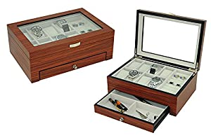 LEO LION Jewelry Box & Watch Case Organizer Combo with Glass Top and Jewelry Tray