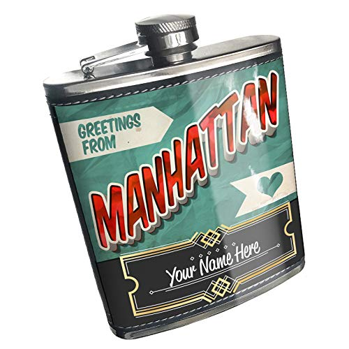 Neonblond Flask Greetings from Manhattan, Vintage Postcard Custom Name Stainless Steel