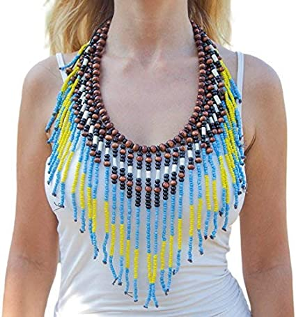 unique Breast Plate Necklace macaw feathers wearable art Indigenous handmade one of a kind