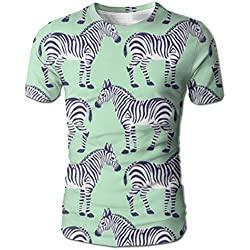 Zebra Painting Polyester Basic Men's T-shirt Short Sleeve Amusing For Student Parties Short Sleeve