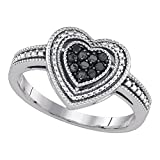 Sterling Silver Black Diamond Heart Ring Love Band Heart n Heart Milgrain Style Promise Fancy 1/4 ctw Size 8.5