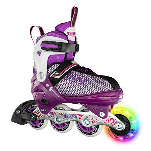 Crazy Skates Adjustable Inline Skates with Light Up Wheels - Roller Blades for Girls - Purple Large (Sizes 5-8)