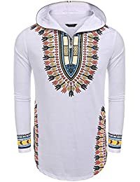 Men's Hip Hop Street Style African Tribal Bright Dashiki Hoodie Top