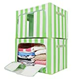 VBTidy 66L Foldable Storage Box, Oxford Fabric Double Zipper Organizer with Clear Window for Under Bed Storage, Closet,Linens, Bedding Blanket, Sheets Pillows, Quilt (2 Pack,Green)
