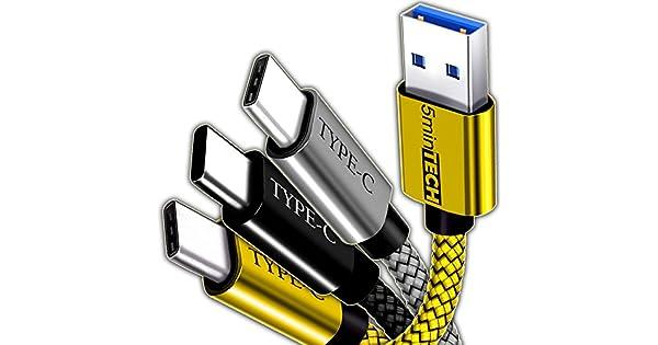 Amazon.com: [3 Pack] – USB tipo C cable nylon trenzado ...