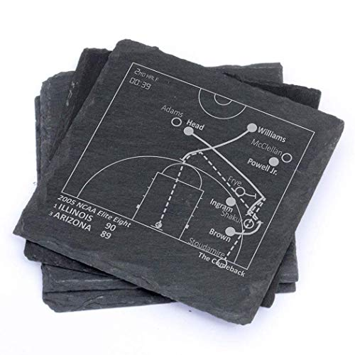 Greatest Illinois Plays - Slate Coasters (Set of 4) (Best Comeback In Basketball History)