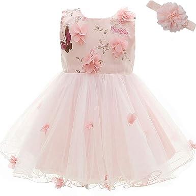 le plus fiable nouvelle version classique chic AHAHA Robe Bebe Fille Rose Robe Ceremonie Princesse Bebe Fleur Mariage