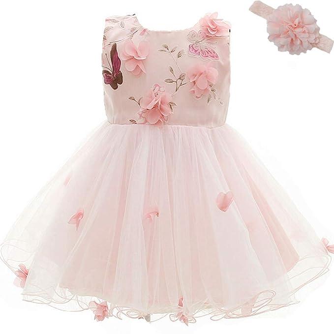 861165edccc8 AHAHA Vestito Rose da Principessa Bambino per Matrimonio Abiti per Feste di  Compleanno per Bambina (