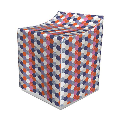 Lunarable Geometric Washer Cover, Colorful Retro Style Pattern with Funny Various Ornamental Hexagon Shapes Print, Dust and Dirt Free Decorative Print, 29