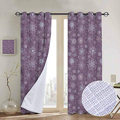 NUOMANAN Pattern Curtains Snowflake,Christmas Themed Floral Arrangement Ornamental Swirls and Curves Winter, Levander Violet,Living Room and Bedroom Multicolor Printed Curtain Sets 52
