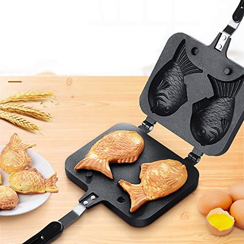 Winner666 2019 Japanese Pancake Maker Fish-Shaped Bakeware Waffle Pan 2 Cast Home Cake Tools (Black)