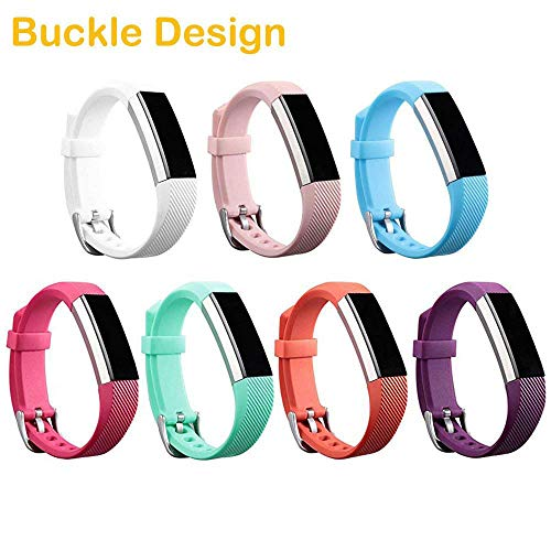 HWHMH Colorful Silicone Replacement Secure Band with Chrome Watch Clasp and Fastener Buckle Compatible with Fitbit Alta HR and Alta - Fix The Tracker Fall Off Problem