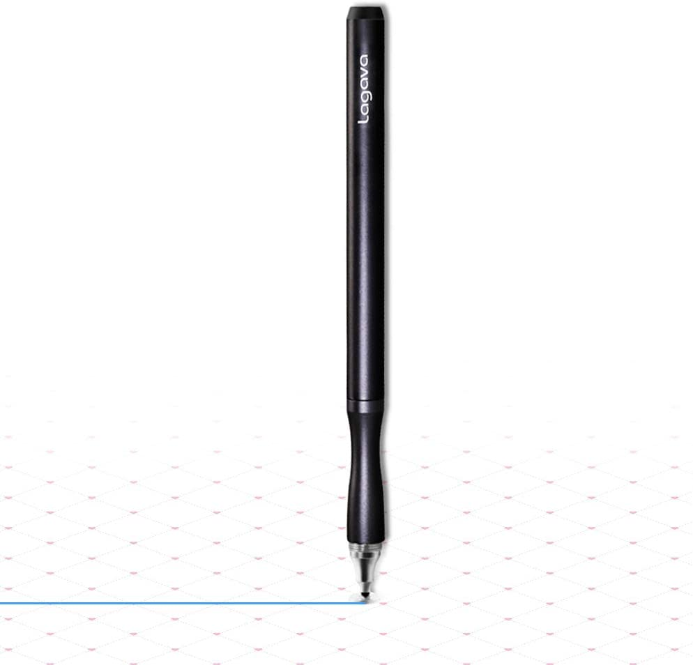Lagava Premium Metal Stylus Pen for Capacitive Touch Screen Tablet iPad Drawing Writing Sketching Note Taking Long Pencil with Precision Disc Thin Tip Replacement (Black)