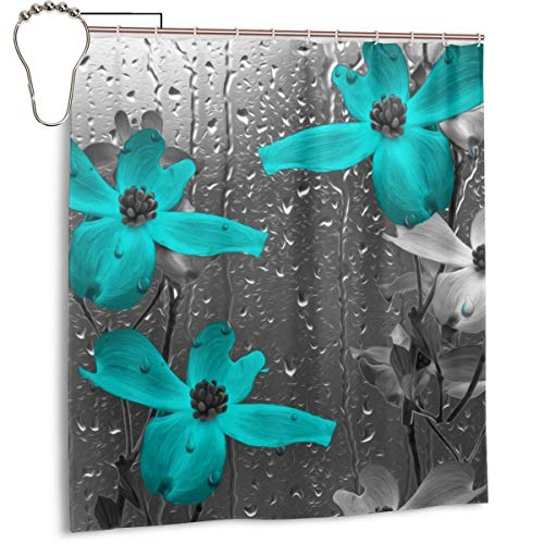 Amonee-YL Aqua Gray Floral Flower Polyester Fabric Shower Curtain Sets with 12 Hooks,Modern Bathroom Home Decor, Decorative (Shower Curtain Green And Black)