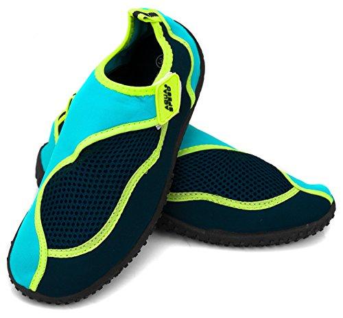 Aqua Speed® Aqua Model–Zapatos de 26(tamaños: 22–�?0Unisex antideslizante estructura Piscina Piscina Cierres de Velcro Neopreno) - Navy-Blue-Green