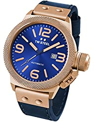 TW Steel CS66 Mens Canteen Leather Blue Dial Blue Strap Automatic Watch