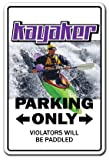 Kayaker Sign Parking Signs Boat Oar Paddle Kayak...