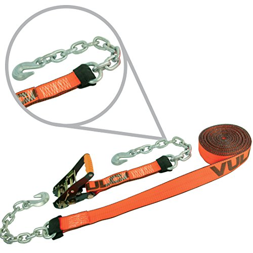Vulcan ProSeries Ratchet Strap With Chain Anchors - 3,600 lbs. Safe Working Load (2'' x 30') (Heavy Duty Ratchet Chain)