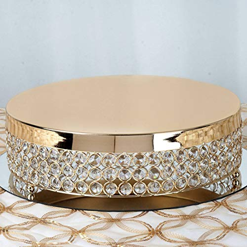 (Efavormart Gold Fancy Beaded Crystal Metal Cake Centerpiece Stand Wedding Birthday Party Rise Cake Display Stand - 13.5