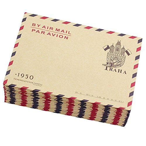 Bolbove Set of 50 AirMail Vintage Style Kraft Paper Postcard Letter Envelopes Invitations (Castle) ()