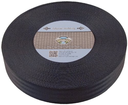 Country Brook Design 2 Inch Black Polyester Webbing, 10 Yards by Country Brook Design