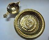 CARTS STYLE Brass Oil Lamp Diya & Plate Hindu Puja Religious Diwali Home Decor Art