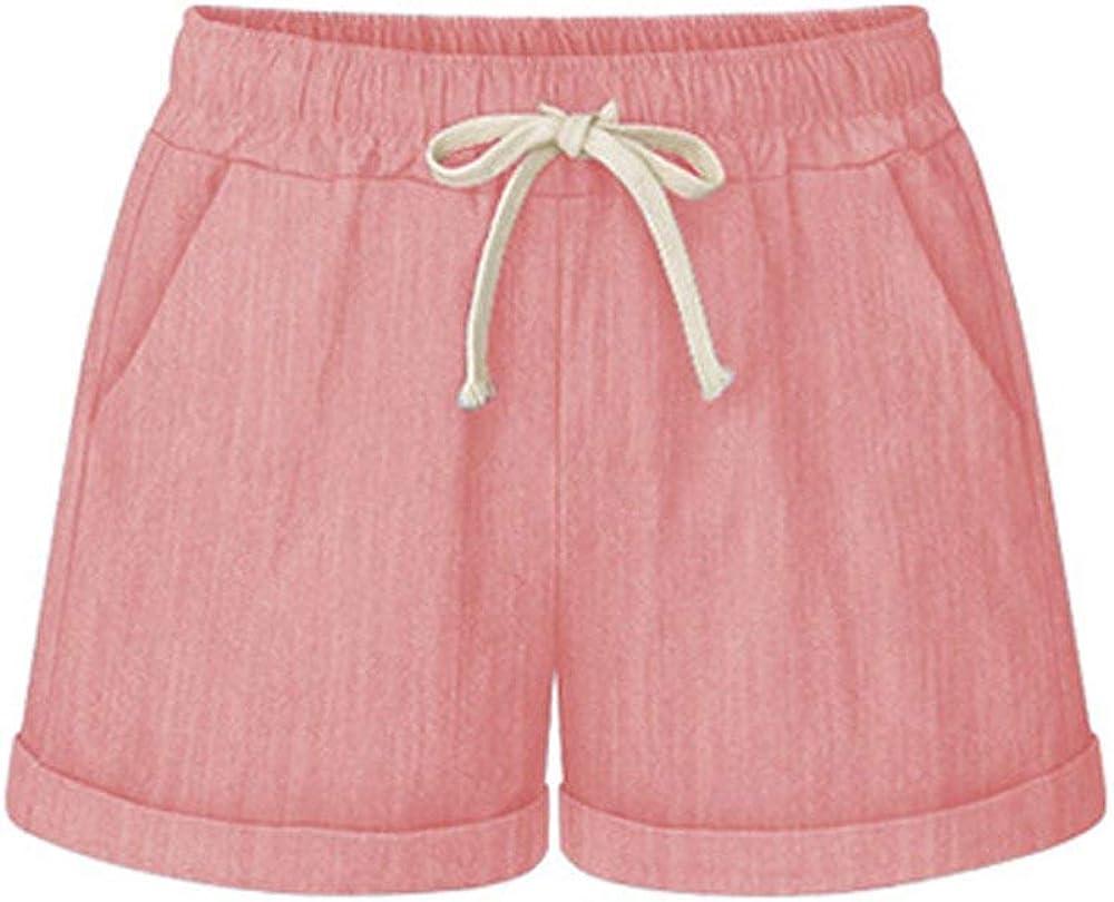 Yknktstc Womens Elastic Waist Cotton Linen Casual Beach Shorts with Drawstring