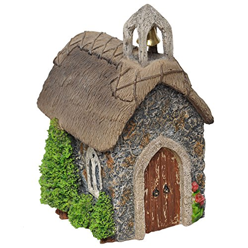 Hi-Line Gift Ltd Fairy Garden Church with Thatched Roof for sale