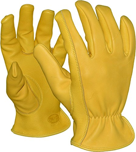 Azusa Safety D96 A-Grade Premium Natural American Wild Deerskin Leather Driver Gloves, Large (1 Pair) -