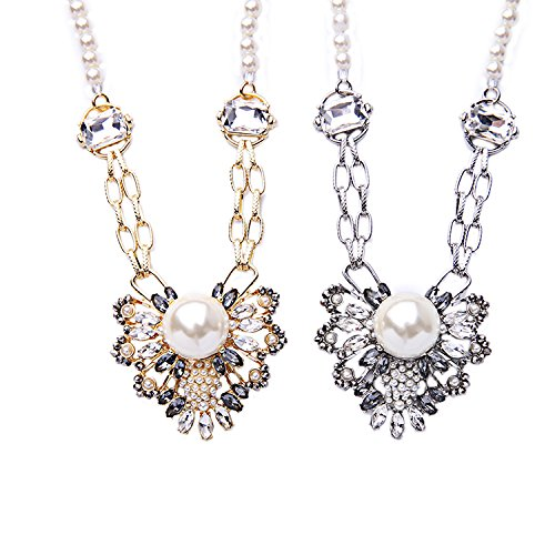 Generic European _and_ American fashion jewelry _factory_outlets_ hollow diamond crystal flower Ms. pearl necklace - Of Outlet Ms Pearl